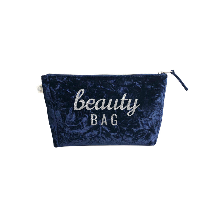 Clutch Bag Midnight Blue Velvet with Silver Glitter Scatter Beauty Bag