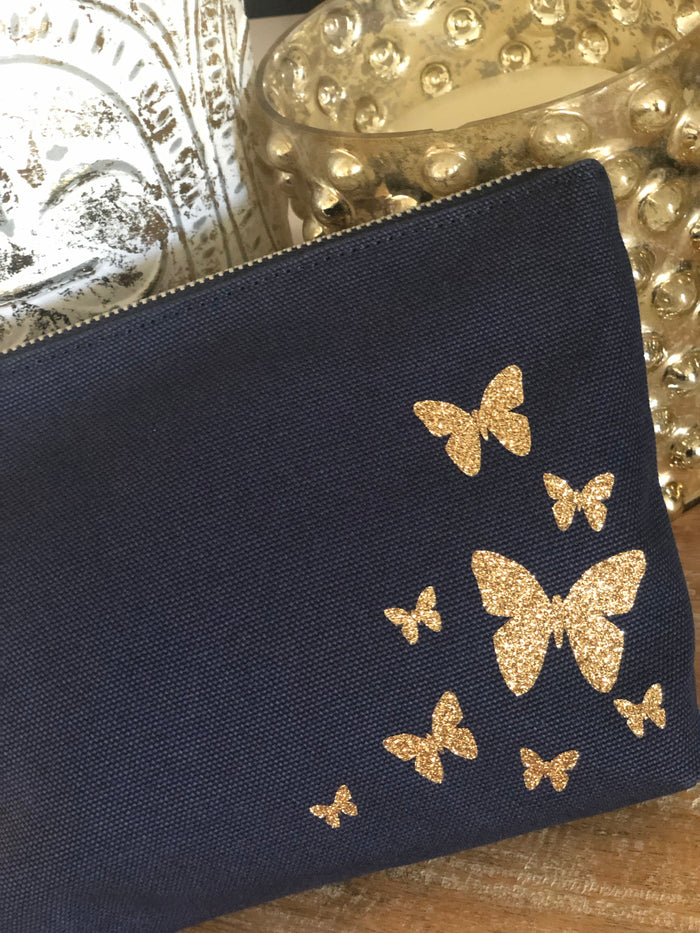 Makeup Bag Navy with Gold Glitter Scatter Butterflies