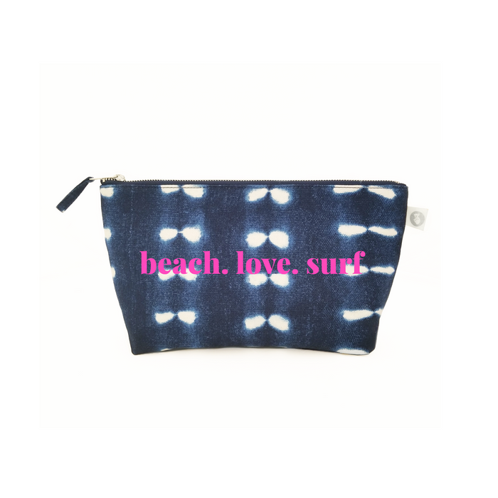 Clutch Bag: Blue Shibori with Neon Pink beach.love.surf