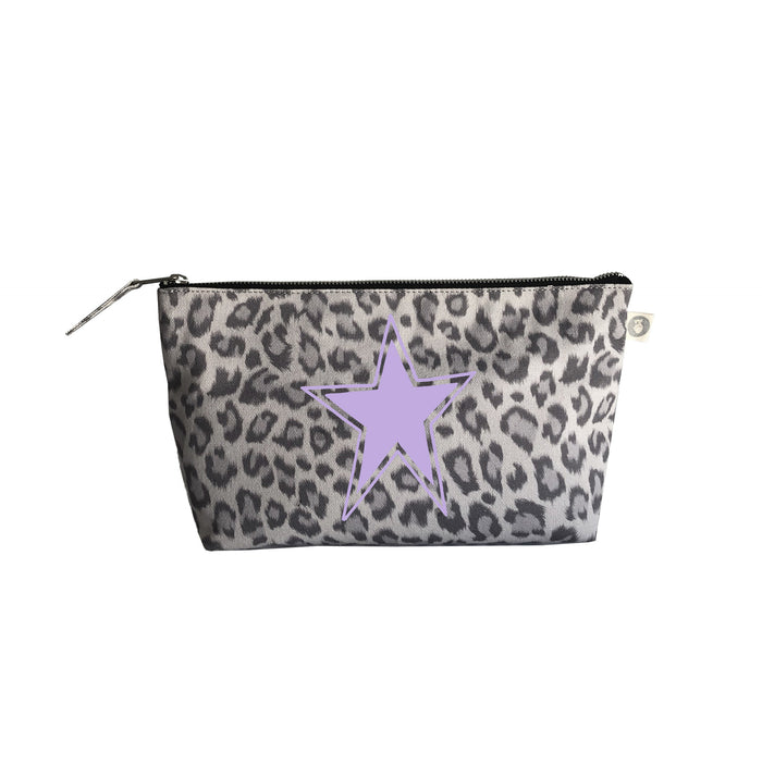 Clutch Bag: Grey Leopard with Lavender Matte Star