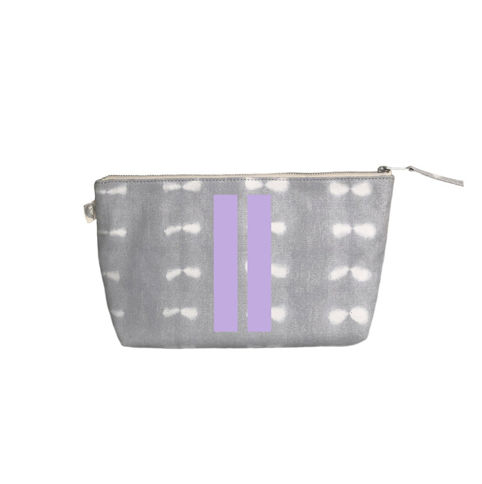 Grey Shibori Clutch Lavender Matte Double Stripe