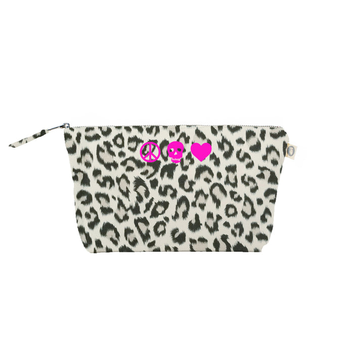 Peace Skull Heart: Clutch Bag Leopard with Neon Pink