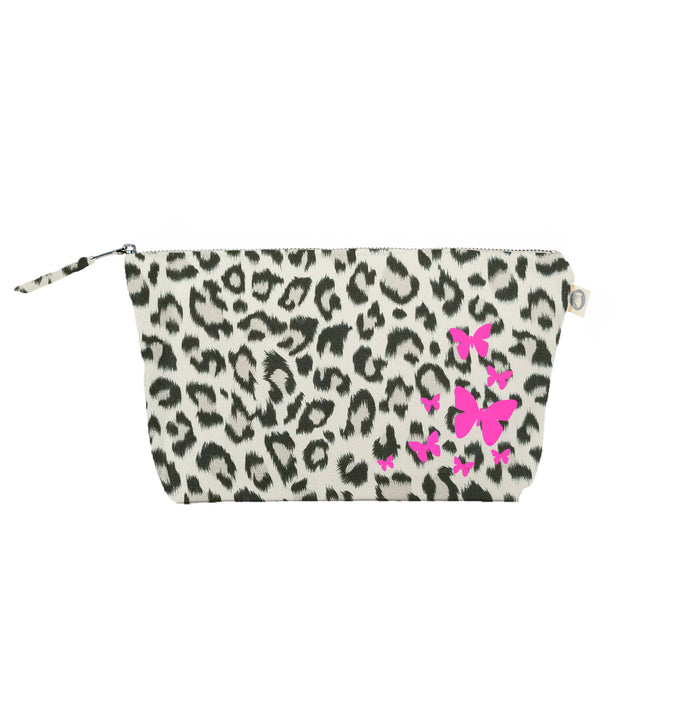 Clutch Bag Leopard with Neon Pink Scatter Butterflies
