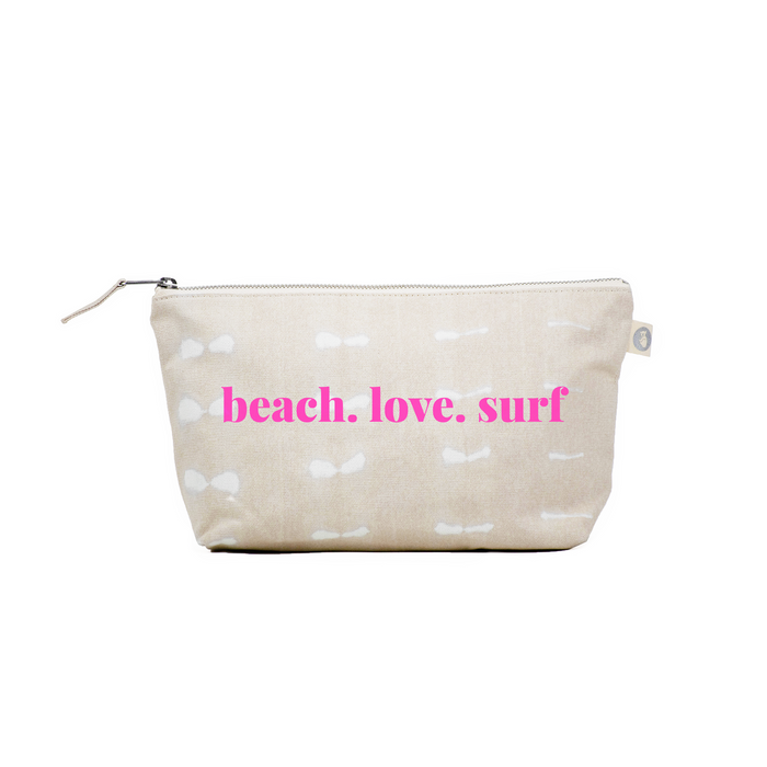 Clutch Bag: Stone Shibori with Neon Pink beach.love.surf