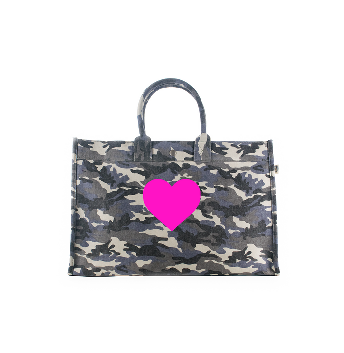 East-West Bag Grey Camouflage with Neon Pink Matte Heart
