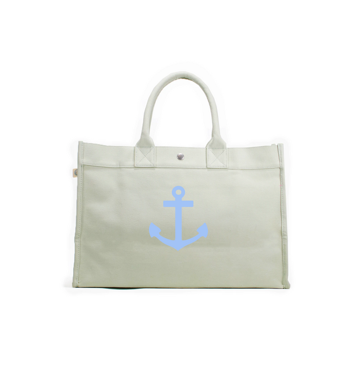 East West Bag: Seaglass Green with Light Blue Matte Anchor