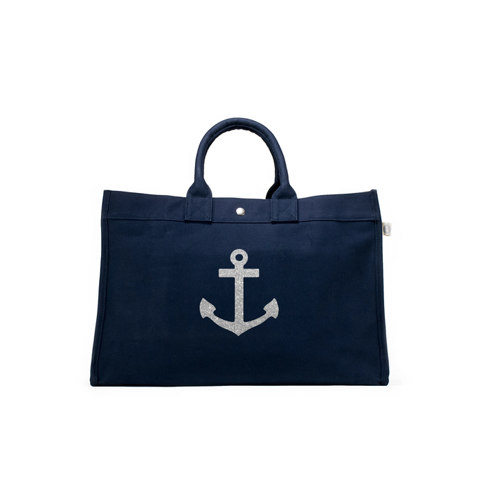 East West Bag: Navy with Silver Anchor