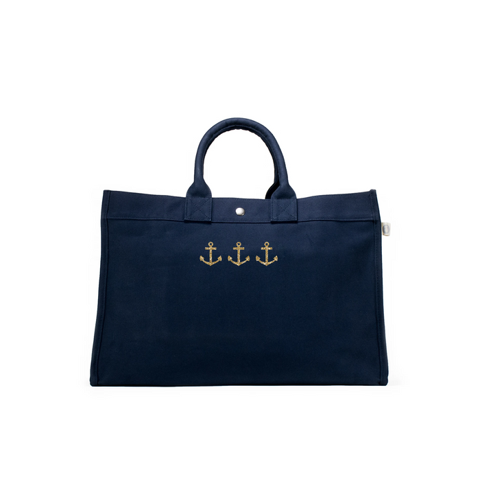 East West Bag: Navy with Gold 3 Mini Anchors