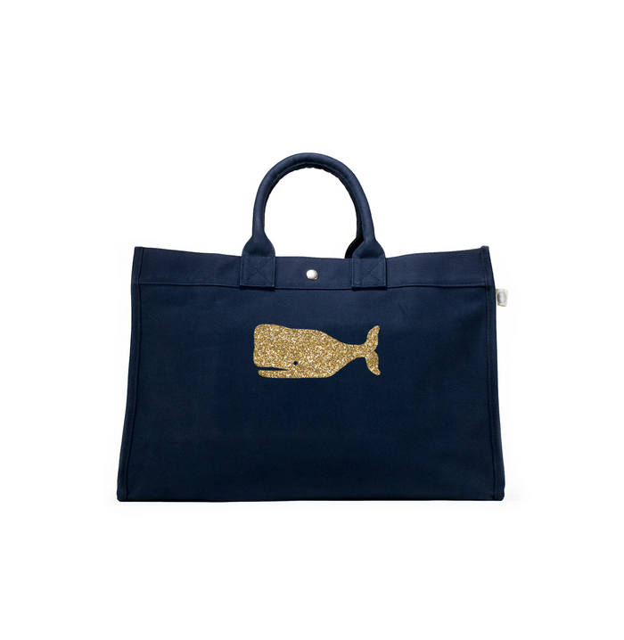 East West Bag: Navy with Gold Whale