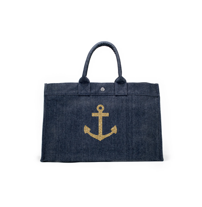 East West Bag: Denim with Gold Anchor