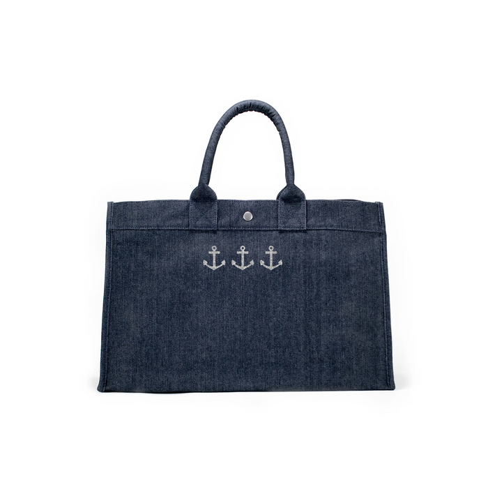 East West Bag: Denim with Silver 3 Mini Anchors