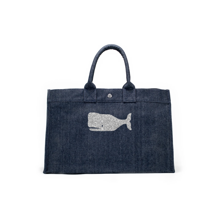 East West Bag: Denim with Silver Whale