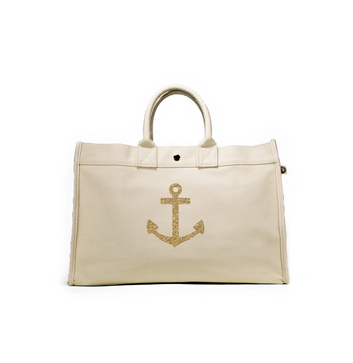 East West Bag: Natural with Gold Anchor