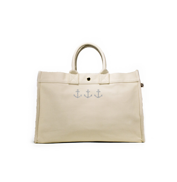 East West Bag: Natural with Silver 3 Mini Anchors