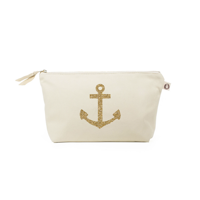 Clutch Bag: Natural with Gold Anchor