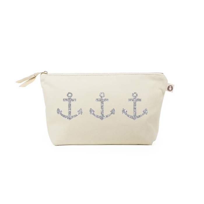 Clutch Bag: Natural with Silver 3 Anchors