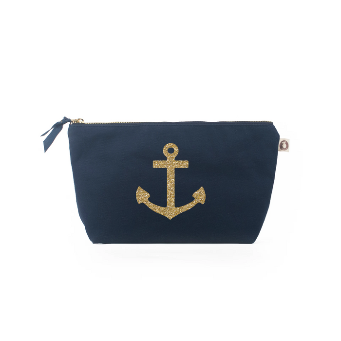 Clutch Bag: Navy with Gold Anchor