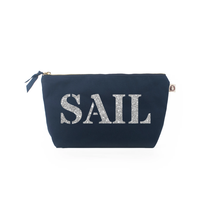 Clutch Bag: Navy with Silver SAIL