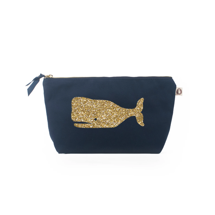 Clutch Bag: Navy with Gold Whale