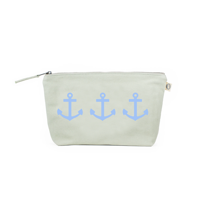 Clutch Bag: Seaglass Green with Light Blue Matte 3 Anchors