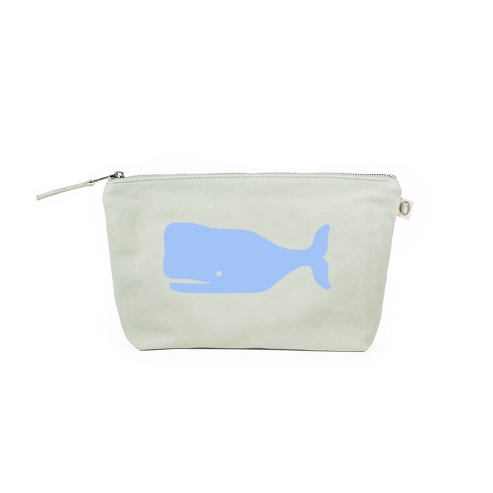 Clutch Bag: Seaglass Green with Light Blue Whale