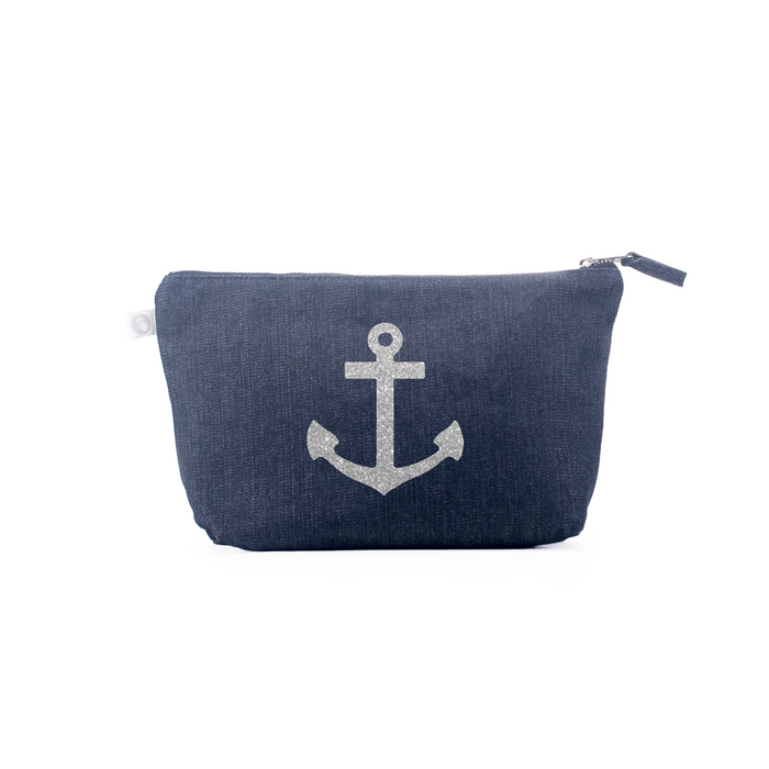 Clutch Bag: Denim with Silver Anchor