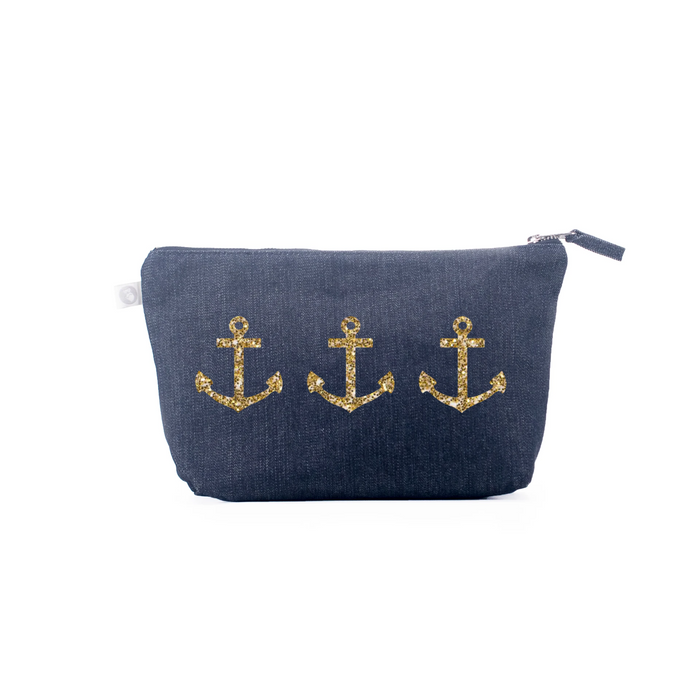 Clutch Bag: Denim with Gold 3 Anchors