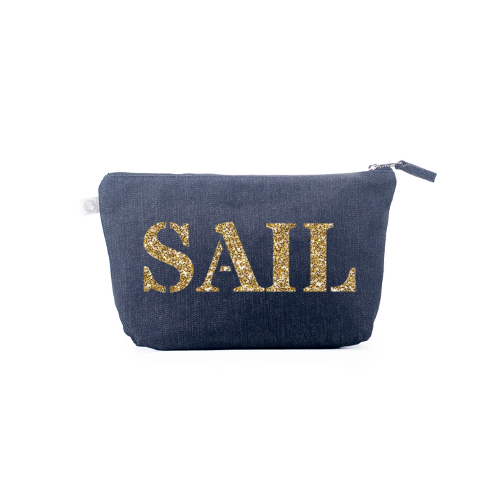 Clutch Bag: Denim with Gold Whale