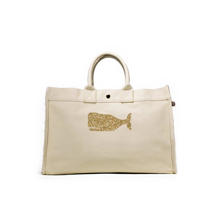 East West Bag: Natural with Gold Whale