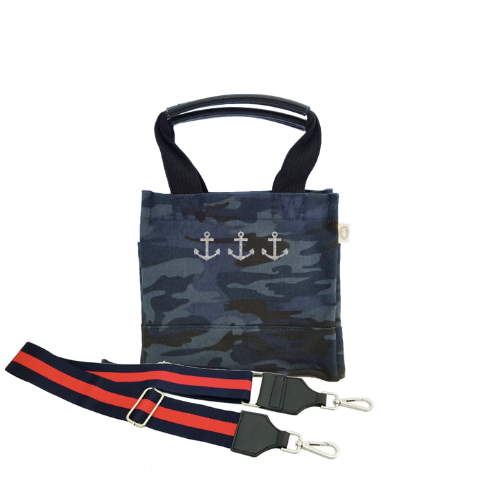 Mini Luxe North South Dark Blue Camouflage Silver 3 Mini Anchors & Navy/Red Strap