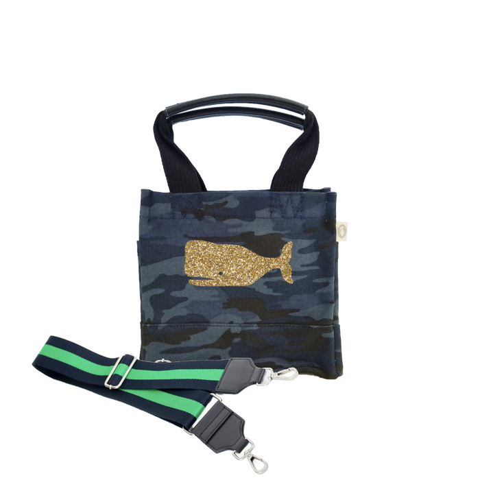 Mini Luxe North South Dark Blue Camouflage Gold Whale & Navy/Green Strap