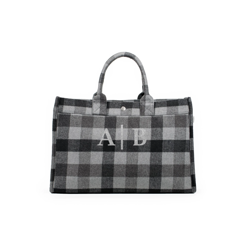 East West Bag: Grey Flannel Plaid Split Letter Monogram