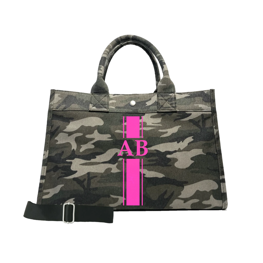 Midi East West Bag: Green Camouflage with Neon Pink Monogram Stripe + Pink/Green Stripe Strap