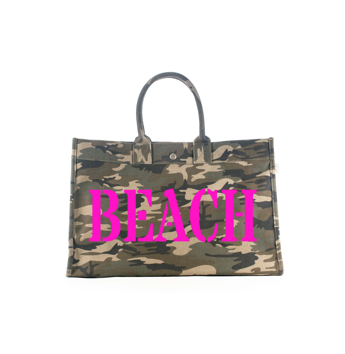 East West Bag: Green Camouflage - Pink Matte Beach