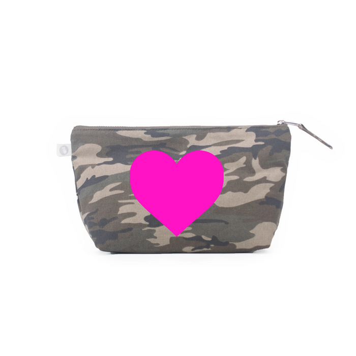 Clutch Bag: Green Camouflage - Pink Matte Heart