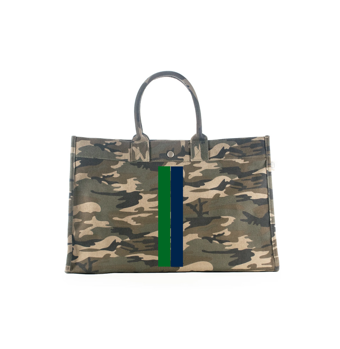 East-West Bag Green Camouflage with Green and Blue Stripe - Use Code LUCKY to save 20%