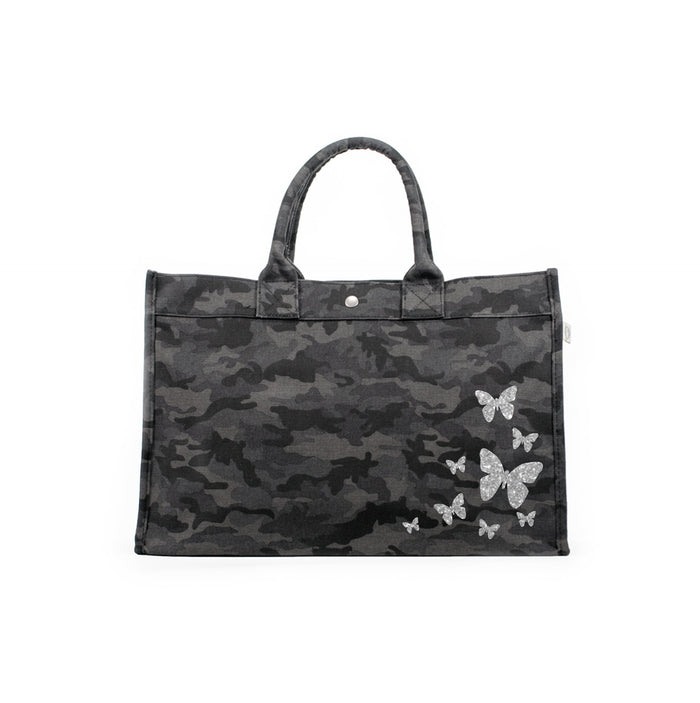 East West Bag: Black Camo with Silver Glitter Scatter Butterflies
