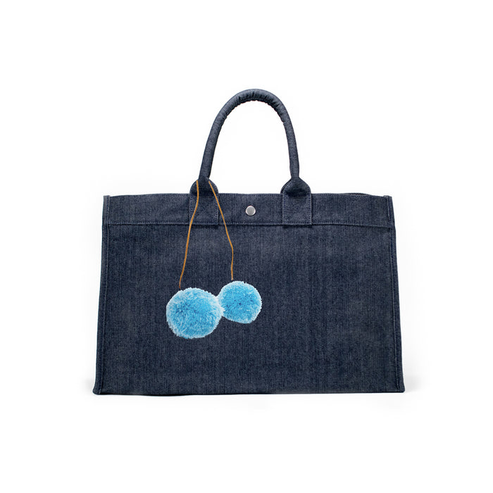 Denim East West Bag + FREE Light Blue Pom Poms ($167 value for only $77 with code: MYDEAL)