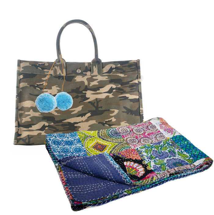 Green Camo East West Bag with Light Blue Pom Poms and a Multi Bright Boho Throw ($290 value for only $134 with code: BEACH)