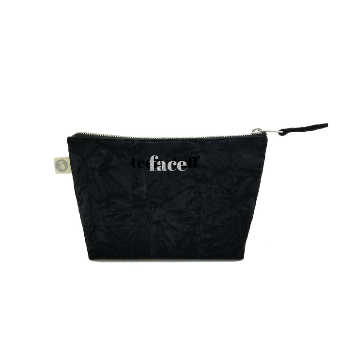 Makeup Bag in Black Crushed Velvet with Silver Glitter Face