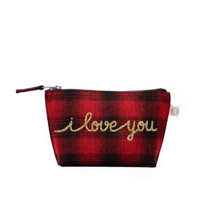 Makeup Bag Red Plaid Flannel with Gold Glitter I Love You