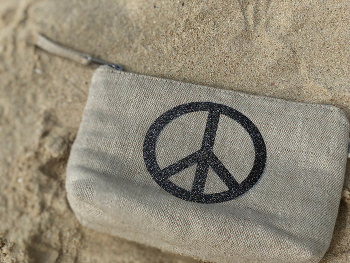 Makeup Bag: Flax with Black Glitter Peace Sign