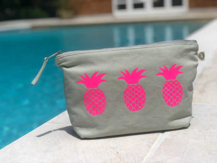 Clutch Bag: Seaglass Green with Neon Pink Pineapples