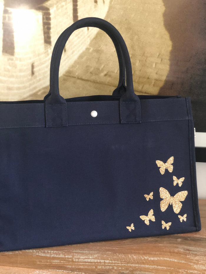 East West Bag: Navy with Gold Glitter Scatter Butterflies