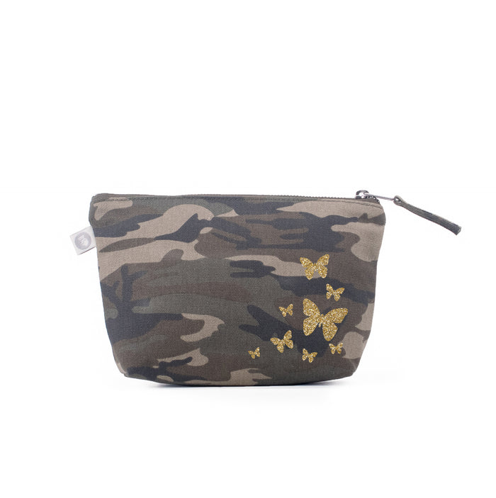 Makeup Bag Green Camo with Gold Glitter Scatter Butterflies