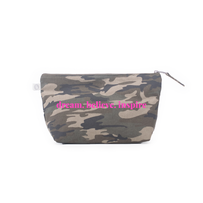 Clutch Bag: Green Camo with Neon Pink dream.believe.inspire