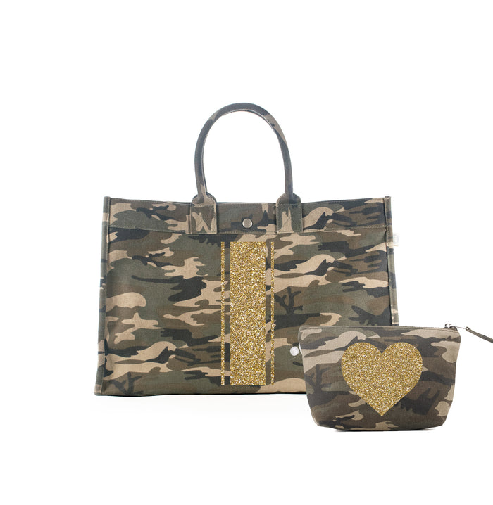 Green Camo East West Bag with Gold Glitter Triple Stripe + FREE Makeup Bag with Gold Glitter Heart ($240 value for only $184 with code: GIFT184)