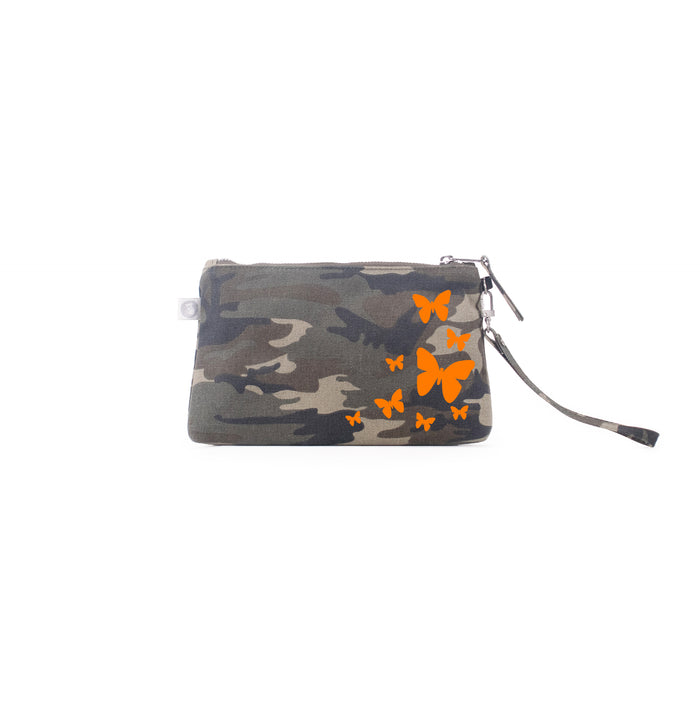 Mini Luxe Clutch Green Camo with Neon Orange Scatter Butterflies