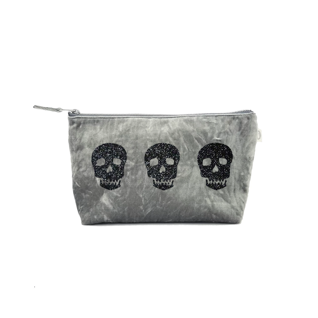 Clutch Bag: Grey Crushed Velvet with Black Glitter Triple Skulls