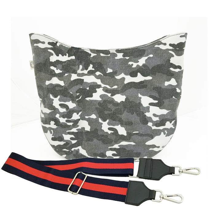 Grey Camo City Bag with Navy/Red Strap Only $84 + FREE Strap ($194 value for only $84 with code: CITY84)
